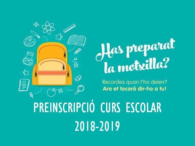 Preinscripció i matriculació curs 2018-2019