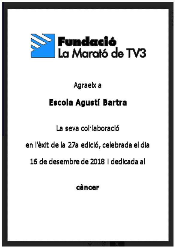 L'escola amb la Marató de TV3