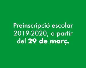 Preinscripció i matriculació per al curs 2019-2020