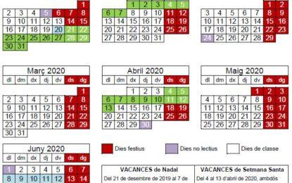 Calendari del curs 2019-2020