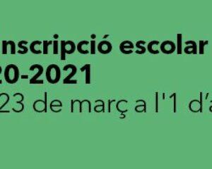 Preinscripció i matriculació per al curs 2020-2021