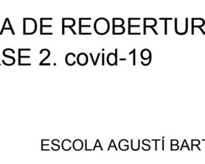Pla de reobertura de l'escola a partir del dia 8 de juny