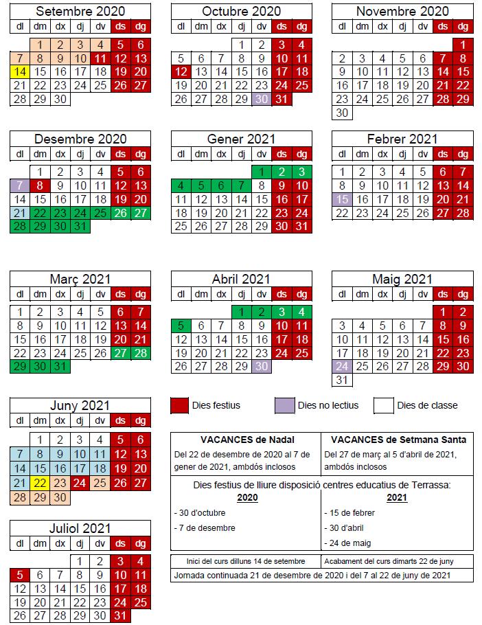 Calendari escolar per al curs 2020-2021
