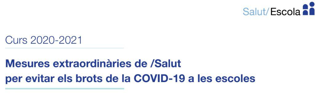 Carta de la consellera de Salut i del conseller d'Educació de mesures extraordinàries de Salut per evitar els brots de la COVID-19 a les escoles