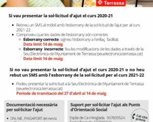 Sol·licitud d'ajuts de menjador escolar per al curs 2021-2022