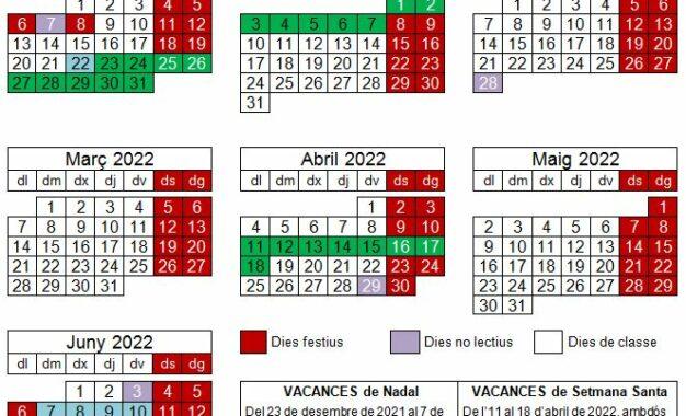 Calendari del curs 2021-2022